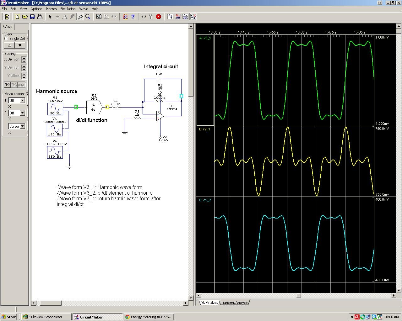Di/dt current sensor simulation