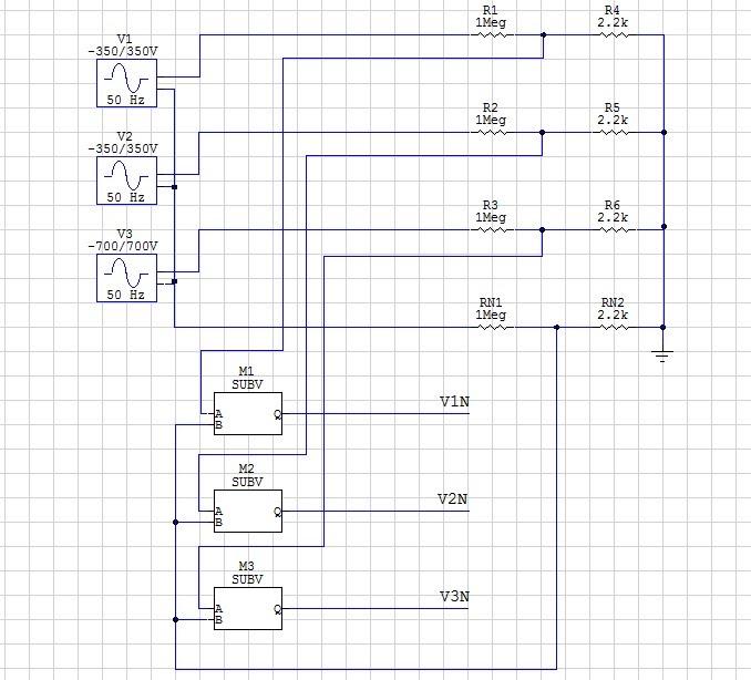 3 phase voltage divider